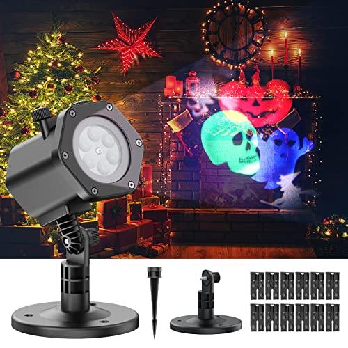 Luces de proyector navidad 12 diapositivas con patrones temáticos Iluminación interior / exterior IP65 Impermeable para decoraciones de fiestas como Navidad, Halloween, San Valentín y otras festivales
