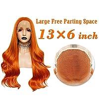女性のための13X6ビッグレースオレンジのロングボディーウェーブ合成レースフロントウィッグ耐熱性繊維26インチナチュラルヘアライン