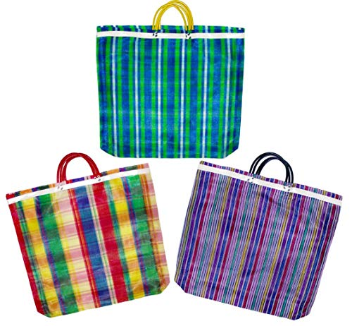 Pack of 3 Large Mercado Bags - 20 x 22 inches Reusable Grocery Bag (High thread mesh)