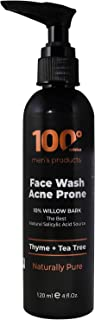 Mens Face Wash Acne Prone-Visible Results As Fast As 12 Hours-Acne Treatment w/10% Willow Bark-Natural Salicylic Acid Source-100% Organic Extracts Thyme and Tea Tree