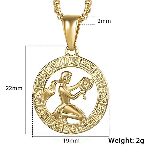 VCX Vrouwen van mannen 12 Horoscoop Zodiac Sign gouden hanger ketting Aries Leo 12 Constellations Jewelry (Length : 22inch 55cm Chain, Metal Color : GP362 Virgo)