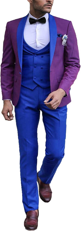 Mens 3 Piece Suit Big and Tall Groom Tuxedos Shawl Lapel trajes para Hombres de Vestir EXZ052