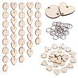 Favide 400 Pieces in Total, Wooden Circles Wooden Heart Tags with Holes and 12 mm Rings for Birthday Boards,...