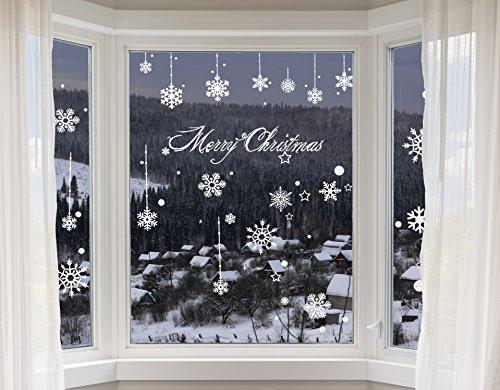 100er Set Schneeflocken Weihnachtsdeko Fenster Bilder – Statisch Haftende PVC Aufkleber Als Fensterdeko Mit Schneekristallen Und Weihnachten Schneesternen – Wiederverwendbar Mit 50mm Durchmesser