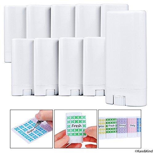 Kare & Kind Deodorant Containers (10-Pack) - Wit - 0,5 Oz (15 ml) - 20 Schrijfbare Stickers - Draaimechanisme en Cap - Leeg - Navulbare Cosmetische Containers voor Zelfgemaakte Natuurlijke Deodorant, Lippenbalsem
