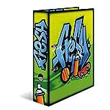 HERMA 7154 Motiv-Ordner DIN A4 Graffiti Fresh, 7 cm breit aus stabilem Karton mit trendigem Innendruck, Ringordner, Aktenordner, Briefordner, 1 Ordner