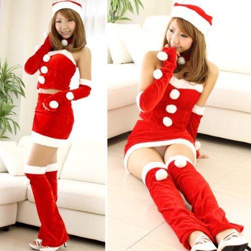 『サンタ衣装 ミニスカート ボンボン付き コスチューム レディース Mサイズ』のトップ画像