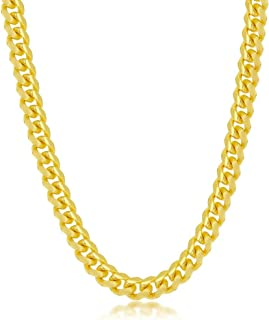 """Beaux Bijoux 4mm/6mm Solid Miami Cuban Link Chain 8"""", 18"""", 20"""", 22"""", 24"""" Bracelet/Necklace 18K Gold Plated Sterling Silver..."""