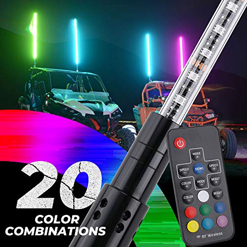 Kemimoto 5ft LED Whip Lights w/Flag [20 Colors] [Wireless Remote] [Weatherproof] Compatible With Polaris Can Am UTV ATV RZR Ranger X3 900 1000 compatible with Jeep