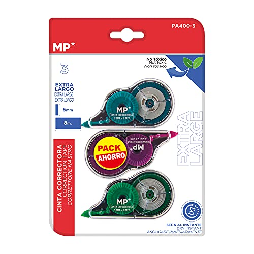 MP, Cintas Correctoras Extra Larga, 8 Metros, Secado Rápido, Pack de 3 Colores Surtidos (PA400-3)