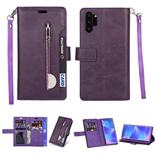 Caja del teléfono móvil para Samsung Galaxy Note10 + Cremallera Multifuncional Caja de Cuero Horizontal Flip con Soporte y Billetera y 9 Tarjetas Slots & Lanyard (Color : Purple)