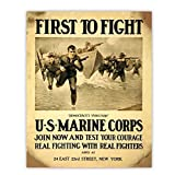 'First to Fight-U.S. Marine Corps' Vintage Poster Print-8 x 10' Wall Decor-Ready To Frame. Antique Recruitment Poster. Retro Military Decor for Home-Office-Cave. Perfect Gift for All Leathernecks!