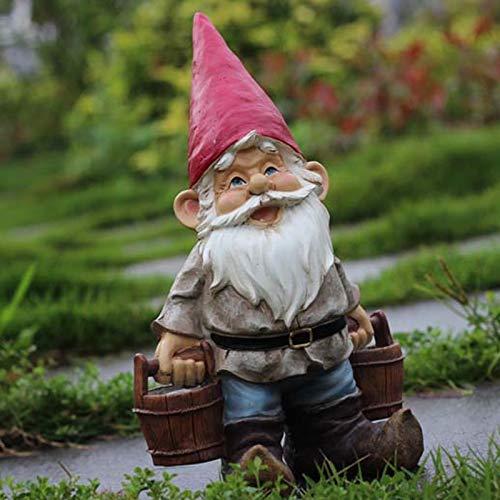 DFGTR Dekoration Poly Harz Kreative Gartenzwerg Elf Figur Tragen Wasser Hof Zwerg Statue Hausgarten Outdoor Dekorationen Ornamente