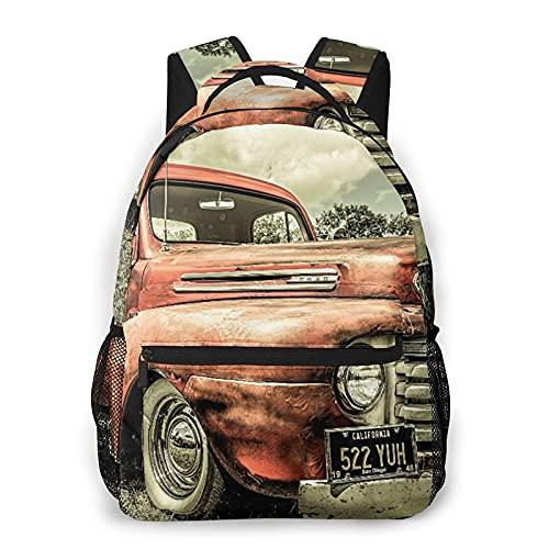 Bingyingne Casual Zaino,Antique Car Custom Vintage Old Truck Car,Business Zainetto Schoolbag For Men Women Teen