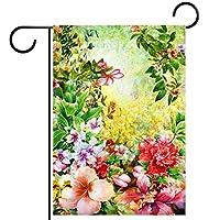 ガーデンヤードフラッグ両面 /12x18inch/ ポリエステルウェルカムハウス旗バナー,春の色とりどりの花水彩