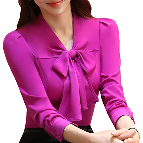 JHVYF Womens Bow Tie Neck Blouse Long Sleeve Casual Work Office Tops Button Down Shirts Fuchsia US 10(Tag 4XL) zsd2086