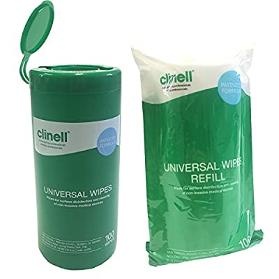 Clinell UNIVERSAL MULTIPURPOSE SURFACE NHS APPROVED DISINFECTION SKIN FRIENDLY MEDICAL CLEANING 100 WIPES DISPENSER TUB & REFILL from