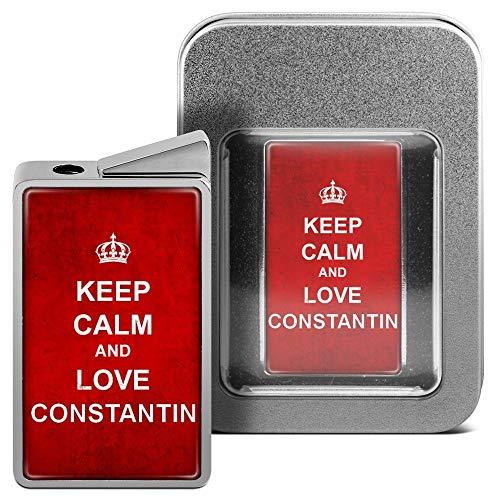 printplanet Feuerzeug mit Namen Constantin - personalisiertes Gasfeuerzeug mit Design Keep Calm - inkl. Metall-Geschenk-Box