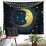 Blue Sun and Moon Tapestry Zodiac Tapestry Celestial Wall Hanging for Bedroom, Living Room and Dorm 51x59 Inches