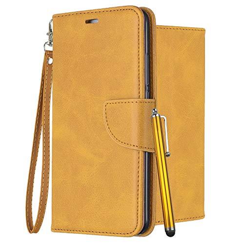 Laybomo Leder Hülle für LG K8 (2018) LG K9 Tasche Retro-Stil Leder Schuzhülle mit Kreditkartenhalter & Weiches TPU Silikon Klappe Schale Stehen Brieftasche Handyhülle LG K8 (2018), Gelb