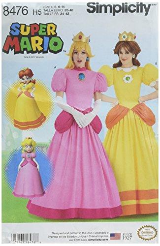 Simplicity 8476Pattern 8476 - Disfraz de Princesa de Super Mario, Papel, Color Blanco, H5 (6-8-10-12-14)
