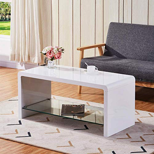 GOLDFAN High Gloss White Coffee Tables with Glass Storage Shelf Modern Design Living Room Coffee Tables for Home Office Furniture