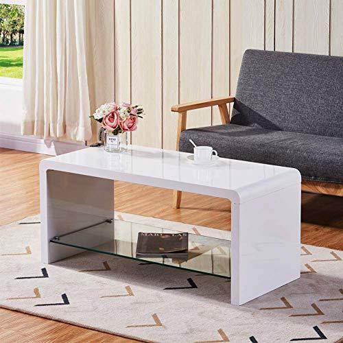 GOLDFAN Couchtisch Weiß Hochglanz Glas Wohnzimmertisch TV Tische Modern Kaffetisch für Schlafzimmer Büro