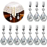 Keadic 10Pcs Marquise Crystal Teardrop Prisms Pendant Tablecloth Weights, Crystal Chandelier Pendants Parts Beads Perfect for Home Decoration