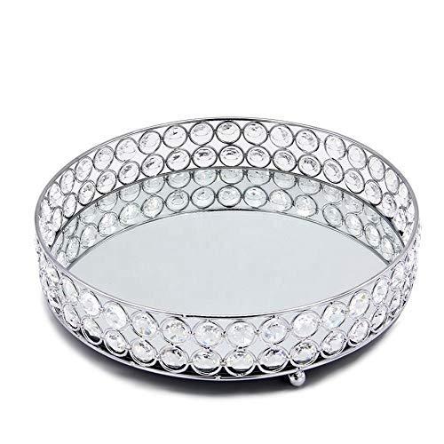 HYY-YY Bandeja decorativa de la caja de almacenamiento de los cosméticos del espejo redondo de plata, estante de la decoración casera