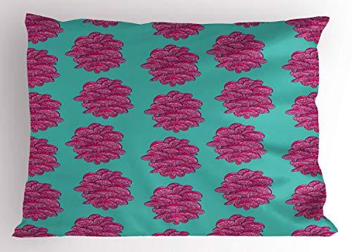 Lunarable Natural Pillow Sham, Abstract Shimeji Mushrooms Pattern Organic Edible Vegetable Foods Bicolour, Decorative Standard Size Printed Pillowcase, 26