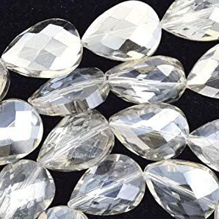 buyallstore 12x18mm Faceted Crystal Flat Teardrop Beads 15.5
