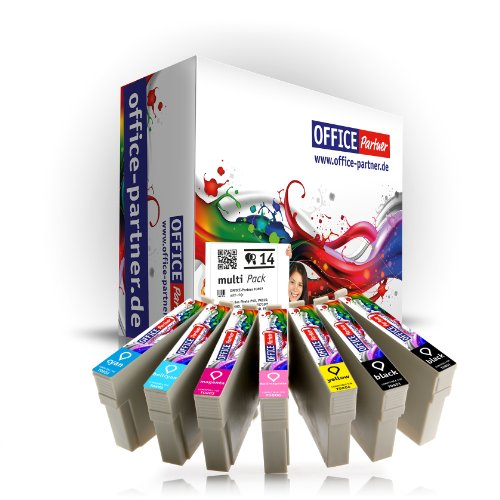 Multipack 14 Cartuchos de tinta compatibles para Epson T0807 con la viruta para Epson Stylus PhotoP50 / PX650 / PX700W / PX710W / PX720WD / PX800FW / PX810FW / PX820FWD / PX830FWD / R265 / R285 / R360 / RX560 / RX585 / RX685