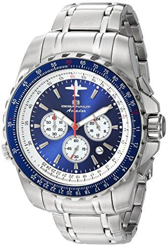 Oceanaut Men's Aviador Pilot Quartz Watch with Stainless-Steel Strap, Silver, 22 (Model: OC0113)