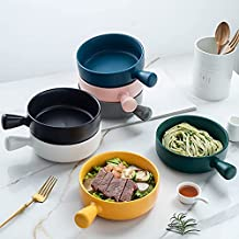 Rice bowl Nordic wind with handle Baking bowl Pasta Plate Simple Home Tableware Soup Noodles Bowl Salad Bowl (Yellow)
