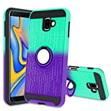 Galaxy J6 Plus Case,Galaxy J6 Prime Case with HD Screen Protector,Atump 360 Degree Rotating Ring Holder Kickstand Bracket Cover Phone Case for Samsung Galaxy J6+ Plus 2018 Mint/Purple