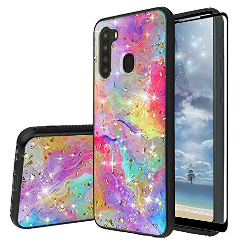 TJS Compatible with Samsung Galaxy A21 Case, with [Full Coverage Tempered Glass Screen Protector] Shiny Flake Glitter Back Skin Full Body Soft TPU Rubber Bumper Drop Protector Back Cover (Rainbow)