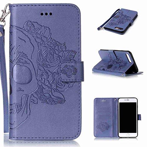 Schutzhülle Für iPhone 7 Plus (5.5 zoll) , pinlu® Handyhülle Hohe Qualität PU Ledertasche Brieftasche Mit Stand Function Innenschlitzen Doppelt Geprägt Schädel Design Blau