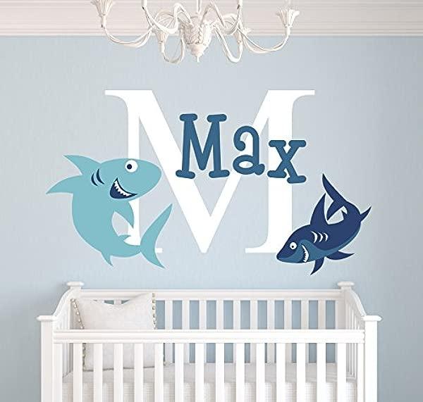 Custom Sharks Name Wall Decal Sharks Room Decor Nursery Wall Decals Sharks Vinyl Sticker For Boys