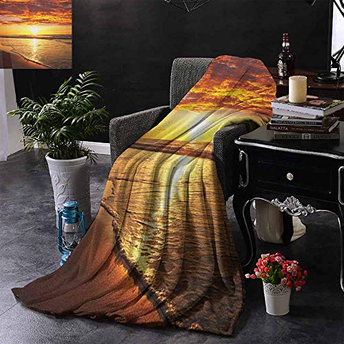 ZSUO Bed deken Dramatic Sunset Scenery Calm Exotic Beach Ocean Waves Kustzicht Lichtgewicht Microvezel, Alle seizoenen voor bank of bed 60