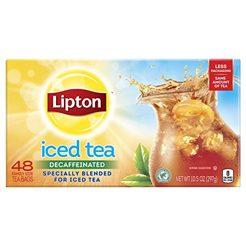Lipton Family-Sized Black Iced Tea Bags, Decaffeinated, Unsweetened 48 Count, Pack of 6