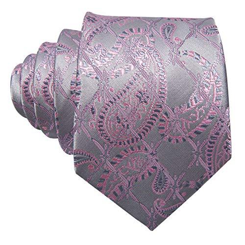 Barry.Wang Silver Grey Pink Tie Set Wedding Business Hanky Cufflink Neckties