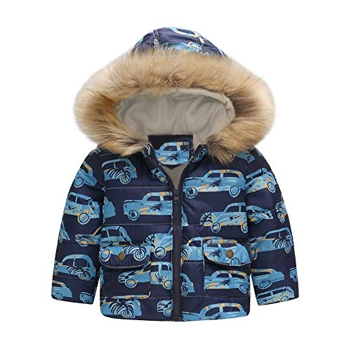 Abrigos Bebé, Dragon868 2019 Invierno cálido niño bebés Dibujos Animados Coche Impreso Chaqueta con Capucha Abrigos(Azul,24M)