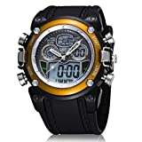 TINKSKY OHSEN Waterproof Backlight Digital LED Date Alarm Mens Rubber Quartz Watch (Yellow)