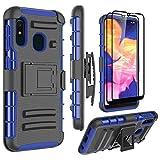 Galaxy A10E Case with Screen Protector, Zectoo Galaxy A10E Case Full Body Rugged Shockproof Kickstand & Belt Clip Armor Defender Combo Case for Galaxy A10E - Blue