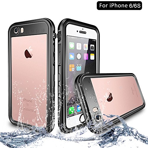 NewTsie Funda iPhone 6, Funda iPhone 6s, Anti-rasguños Impermeable Carcasa Funda Case con Protector de Pantalla Submarino Caso para iPhone 6/6s 4.7 Inch (T-Negro)