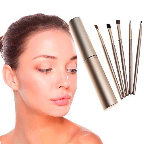POachers Maquillage à Yeux 5pcs, maquillage professionnel fard à paupières yeux pinceaux cosmétique Set + tube rond-Pinceau estompeur maquillage yeux Brosse Pinceau Fard à Paupières Sourcils