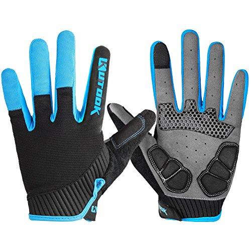 KUTOOK Herren Fahrradhandschuhe Mit Gel Vollfinger MTB Handschuhe für das Radfahren(Blau,L)