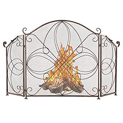 VINGLI 3-Panel Wrought Iron Fireplace Screen Flat, Rustic Decorative Scroll Spark Guard Cover, Baby Safe Proof Fire Place Fence (Reddish Brown from VINGLI