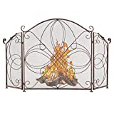 VINGLI 3-Panel Wrought Iron Fireplace Screen Flat, Rustic Decorative Scroll Spark Guard Cover, Baby Safe Proof Fire Place Fence (Reddish Brown