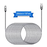 Cell Phone Charger, Takya Charging Cord 16FT/5M Nylon Braided High Speed Connector USB Cable Charger Cord Compatible with Phone XS/XR/X / 8/8 Plus / 7/7 Plus / 6/6 Plus and More(Silver)
